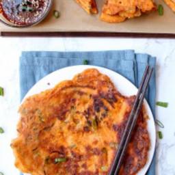 crispy savory Kimchi Scallion Pancakes (Kimchi Pajeon)