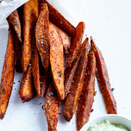 Crispy Sweet Potato Wedges with Garlic Avocado Aioli