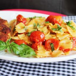 Crispy Skillet Chicken with Bruschetta Pasta