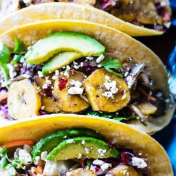 Crock Pot Cuban Pork Tacos with Fried Plantains {Gluten Free}