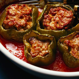 Crock Pot Stuffed Green Peppers with Ground Beef and Rice