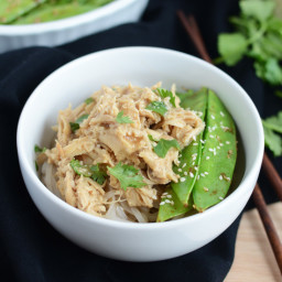 Crockpot Asian Chicken with Stir Fried Sesame Pea Pods