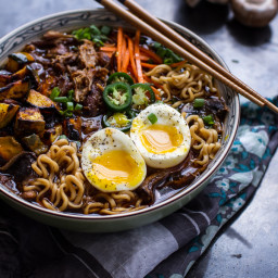 Crockpot Caramelized Pork Ramen Noodle Soup w/ Curry Roasted Acorn Squash