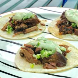 Crockpot Carnitas tacos with Creamy Avocado Verde