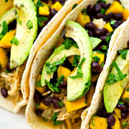 Crockpot Green Chile Chicken Tacos with Mango Black Bean Salsa