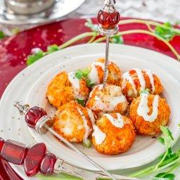 Crockpot Buffalo Chicken Meatballs with Blue Cheese Dressing