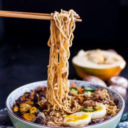 Crockpot Caramelized Pork Ramen Noodle Soup w/Curry Roasted Acorn Squash.