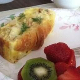 Croissant and Salmon Breakfast Casserole