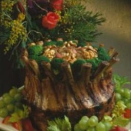 Crown Roast of Pork with Walnut-Rhubarb Stuffing