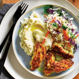 Crumbed chicken with coleslaw and cauliflower mash