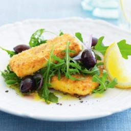 Crumbed haloumi and rocket salad