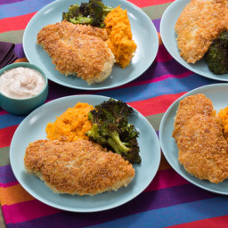 Crunchy Parmesan Chickenwith Roasted Broccoli and Mashed Sweet Potatoes
