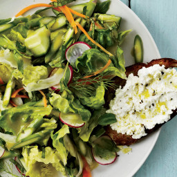 Crunchy Vegetable Salad with Ricotta Crostini