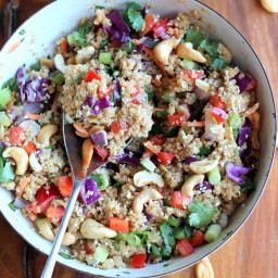 Crunchy Cashew Thai Quinoa Salad with Ginger Peanut Dressing {vegan, gluten