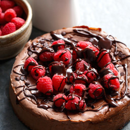 Crustless Chocolate Raspberry Cheesecake (Low Carb + Low Fat)