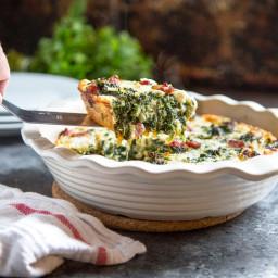 Crustless Spinach Quiche with Ham