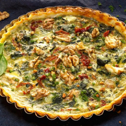 Crustless Spinach Quiche with Sun-Dried Tomatoes
