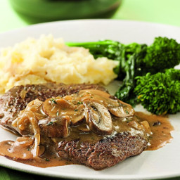Cube Steak with Mushroom-Sherry Sauce for Two