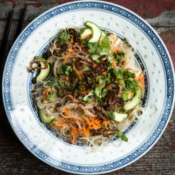 Cucumber and Carrot Vermicelli with Crispy Shallots