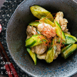Cucumber and Chicken Marinated in Chili Oil