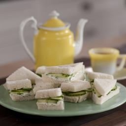 Cucumber and Lemony Dill Cream Cheese Tea Sandwiches