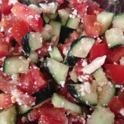 Cucumber and Tomato Salad with Feta (NO DRESSING NEEDED!)