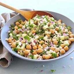 Cucumber-Chickpea Salad with Feta-Mint Vinaigrette