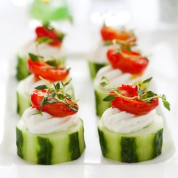 Cucumber Rounds w/ Herb Cream Cheese Filling, Grape Tomatoes & Greens
