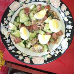 Cucumber sausage and sardine salad.