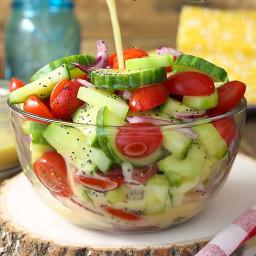 Cucumber Tomato Salad with Lemon Poppy Seed Dressing