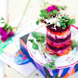 Cumin-Spiced Goat's Cheese, Beetroot & Quinoa Towers