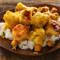 Curried Cauliflower, Chickpeas, and Tofu