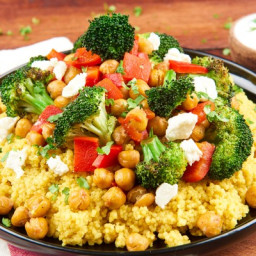 Curried Couscous with Roasted ChickpeasWith Broccoli and Feta Cheese