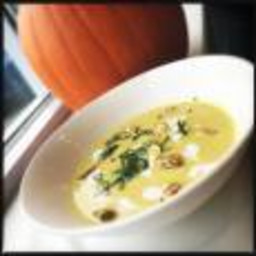 Curried Pumpkin Soup with Maple Syrup and Candied Pumpkin Seeds