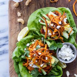 Curried Salmon Burger Lettuce Wraps w/Crispy Sweet Potato Straws + Goat che