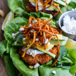 Curried Salmon Burger Lettuce Wraps with Crispy Sweet Potato Straws