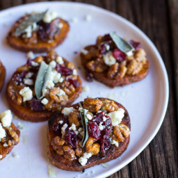 Curried Sweet Potato Rounds with Honeyed Walnuts, Cranberries and Blue Chee