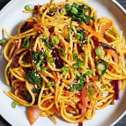 Curry Noodles with Broccoli Rabe and Purple Cabbage