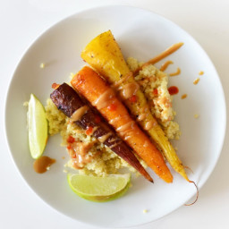 Curry Roasted Carrots with Peanut Sauce