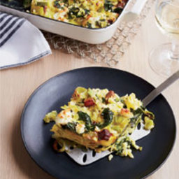 Custardy Baked Orzo with Spinach, Bacon and Feta