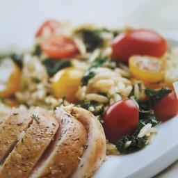 Lemony Orzo, Kale, and Tomatoes