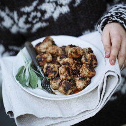 Danish Meatballs with Prunes and Sage Leaves