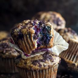 Dark Chocolate Blueberry Banana Oat Muffins