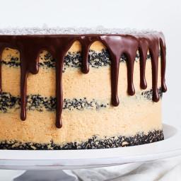 Dark Chocolate Cake with Whipped Caramelized White Chocolate Ganache