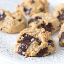 Dark Chocolate Chunk Almond Flour Cookies with Flaked Sea Salt
