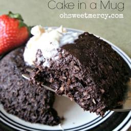 Dark Chocolate Coconut Cake in a Mug