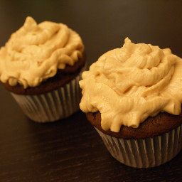Dark Chocolate Cupcakes with Peanut Butter Frosting