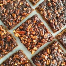 Dark Chocolate Pecan Pie Bars (vegan and gluten-free)