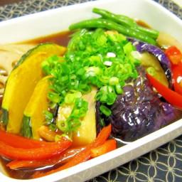 Deep fried summer vegetable in noodle sauce