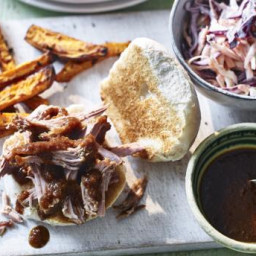 Deep South pulled pork sliders with sweet potato fries and coleslaw